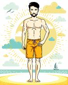 Handsome Man With Beard And Whiskers Standing On Tropical Beach And Wearing Beachwear Shorts. Vector poster