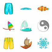 Aqua Aerobics Icons Set. Cartoon Set Of 9 Aqua Aerobics Vector Icons For Web Isolated On White Backg poster