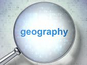 Education Concept: Magnifying Optical Glass With Words Geography On Digital Background, 3d Rendering poster