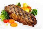 Gourmet Steak with Broccoli,Cherry Tomato , close up