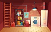 Vector Cellar Interior, Laundry Inside The Basement In Cartoon Style. Storage With Shelves, Furnitur poster