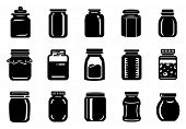 Jar Glass For Jam Or Honey Icons Set. Simple Illustration Of 15 Jar Glass For Jam Or Honey Vector Ic poster