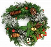 foto of christmas wreath  - Christmas wreath isolated on the white background - JPG