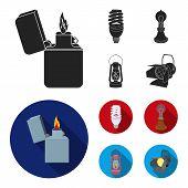 Lighter, Economical Light Bulb, Edison Lamp, Kerosene Lamp.light Source Set Collection Icons In Blac poster