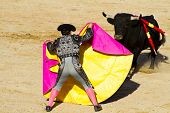 stock photo of bullfighting  - Torero and bull in bullfight - JPG
