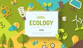 Environmental Protection, Ecology Concept Horizontal Banner In Flat Style With Square Frame On Color poster