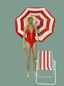 Full-length Female Mannequin Dressed In Swimwear. Isolated On Green Background. No Brand Names Or Co poster