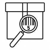 Parcel Under Magnifier Icon. Outline Parcel Under Magnifier Vector Icon For Web Design Isolated On W poster
