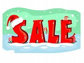 Christmas Sale Poster With Cute Santas. Beautiful Poster For Christmas Sale And Christmas Design. In poster