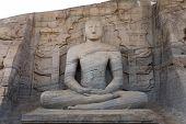 Ancient Sitting Buddha Image, Gal Vihara, Polonnaruwa, Sri Lanka