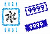 Mosaic Chip Cooling Icon And Rectangular Seals. Flat Vector Chip Cooling Mosaic Icon Of Randomized R poster