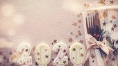 Happy New Year 2020 Table Place Setting, New Year Eve Lunch And Dinner Menu Concept poster