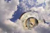 foto of barometer  - There is a barometer is visible between clouds - JPG