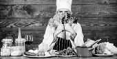 Dieting Concept. Man Wear Hat And Apron Hold Lettuce. Bearded Hipster Professional Chef Hold Lettuce poster