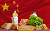 Basic Food Groceries In Front Of China National Flag