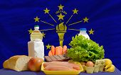 Basic Food Groceries In Front Of Indiana Us State Flag