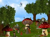 picture of  midget elves  - Dwarfs land Mushroom houses dreamyland cute fairy - JPG