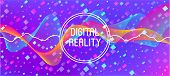 Flying Particles Distressed Purple Vector. 3d Fluid Shapes Poster. Big Data Neon Wallpaper. Data Ana poster