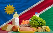 Basic Food Groceries In Front Of Namibia National Flag