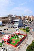 The Capital Of Ukraine Kyiv Is Preparing Fan Zone On Maidan Nezalezhnosti.