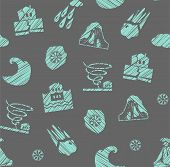 Weather, Natural Disasters, Seamless Pattern, Gray-blue, Hatching, Vector. Images Of Various Natural poster