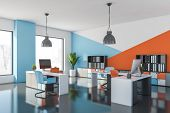 Blue And Orange Modern Office Workplace poster