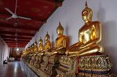Gilded Statues Of Buddha Sitting In Lotus Position. Statues From A Buddhist Monastery. poster
