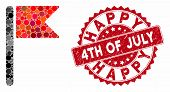 Mosaic Flag And Corroded Stamp Seal With Happy 4th Of July Caption. Mosaic Vector Is Composed With F poster
