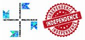 Mosaic Flags And Rubber Stamp Seal With Independence Caption. Mosaic Vector Is Created With Flags Ic poster