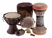 stock photo of drums  - African ethnic percussion instruments from different African countries isolated on white - JPG