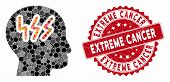 Mosaic Headache And Rubber Stamp Watermark With Extreme Cancer Phrase. Mosaic Vector Is Created With poster