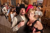 Cowboy And Showgirl Drinking