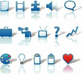 Communications Media Business Icons Blue Set 3.Eps