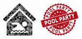 Mosaic Indoor Water Pool And Distressed Stamp Seal With Pool Party Text. Mosaic Vector Is Created Wi poster