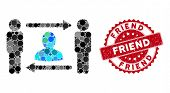 Mosaic Persons Friend Exchange And Distressed Stamp Seal With Friend Caption. Mosaic Vector Is Compo poster