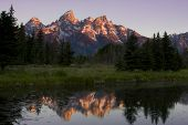 picture of mountain-range  - Grand Teton Mountain Range with reflection in river - JPG