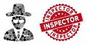 Mosaic Agent And Rubber Stamp Seal With Inspector Text. Mosaic Vector Is Composed With Agent Icon An poster