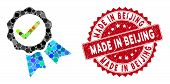 Mosaic Valid Stamp And Grunge Stamp Watermark With Made In Beijing Caption. Mosaic Vector Is Compose poster