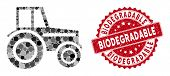 Mosaic Wheeled Tractor And Rubber Stamp Seal With Biodegradable Phrase. Mosaic Vector Is Designed Fr poster