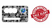 Mosaic Banking Card And Grunge Stamp Seal With Sale Alert Caption. Mosaic Vector Is Designed With Ba poster