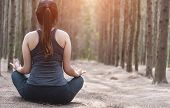 Back Young Woman Lifestyle Relax Sitting Meditation Yoga In Morning At Forest Nature poster