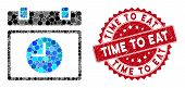 Mosaic Time Schedule And Rubber Stamp Seal With Time To Eat Text. Mosaic Vector Is Designed With Tim poster