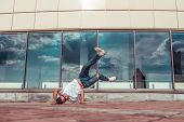 Young Active Dancer, Headstand, Sport Man, Summer In City, Break-dancer Pose, Hip-hop Movement, Mode poster