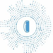 Blue Line Hairbrush Icon Isolated On White Background. Comb Hair Sign. Barber Symbol. Abstract Circl poster