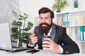Encrypted Communication App Will Protect Your Company Secrets. Bearded Man Use Wireless Communicatio poster