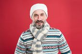 Winter Fashion Trends For Mature Adult. Mature Man Red Background. Mature Person In Cold Weather Fas poster