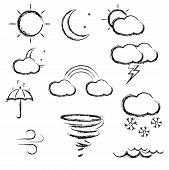 pic of hurricane clips  - Sketch style weather icons - JPG