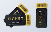 Two Movie Tickets. Realistic Cinema Theater Admission Pass Template. Vector Illustration Festival Bl poster
