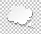 White Paper Speech Bubble. Blank Thought Balloons, Think Cloud Illustration. Vector Speech Symbols A poster