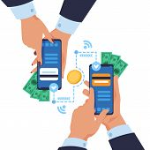 Mobile Money Transfer. Cartoon Hands Holding Smartphones And Sending Wireless Payment. Vector Concep poster